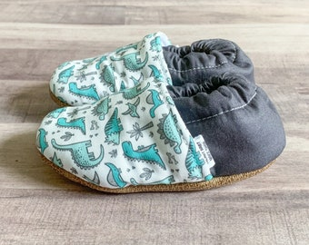 Trendy Baby Moccasins - Teal Dino