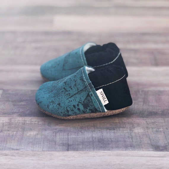 Trendy Baby Moccasins Teal Crackle | Etsy