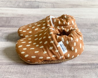Trendy Baby Moccasins - Rust Speckled