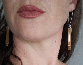 Roasted Maple Handmade Wooden Dangle Earrings, 925 silver