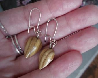 Sumac Handmade Wooden Dangle Earrings, 925 Silver