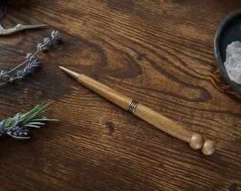 Palo Santo Handmade Wooden Ballpoint Pen with Antique Brass Accent