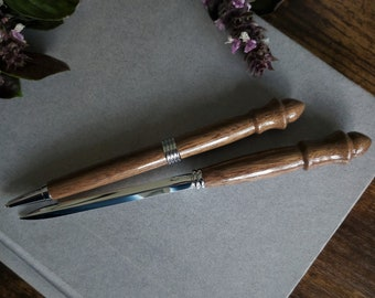 Black Walnut Handmade Wooden Ballpoint Pen and Letter Opener Set with Chrome Accent