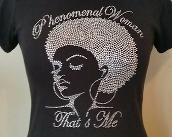 f122b205c Phenomenal Woman That's Me Afro Lady. Natural Hair Tee. Afro T-shirts.  Black is Beautiful!