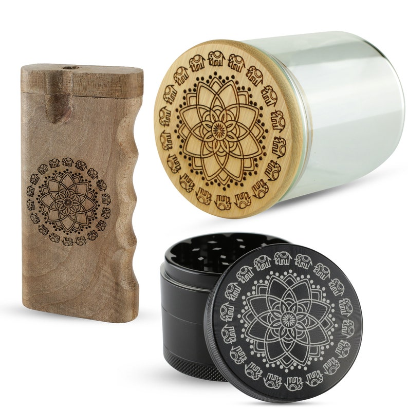 Grinder Great Gift Set Stash Jar and Dugout One Hitter all with our Laser Engraved Elephant Mandala design Custom Orders available