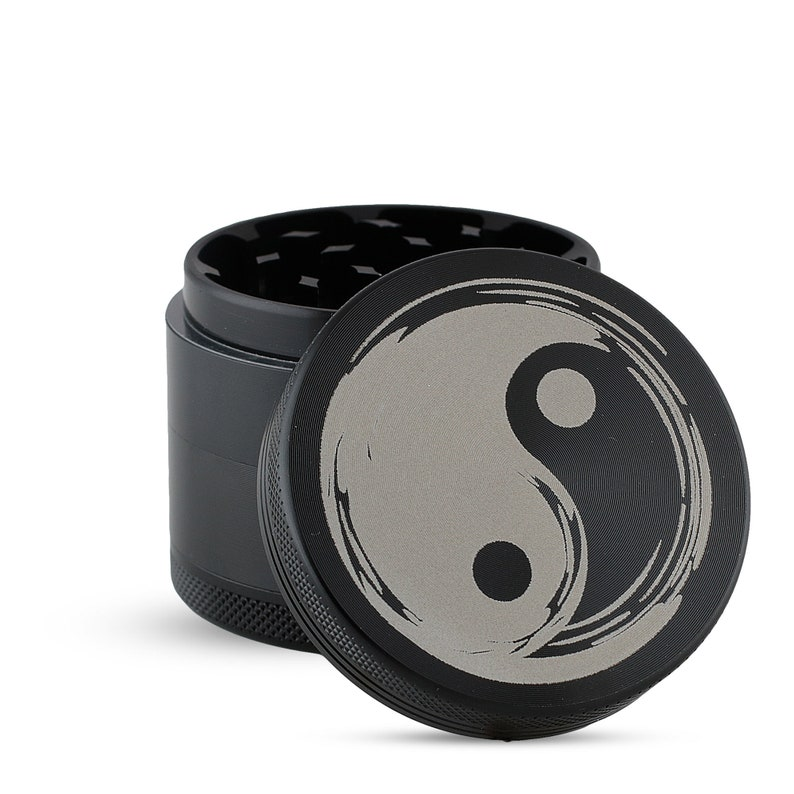 Custom Engraved Grinder with Yin Yang design Magnetic Top  Custom Orders available 5 Part Aluminum with Pollen Screen