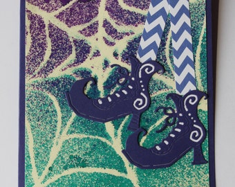 High Stepping Witch on a Web Card