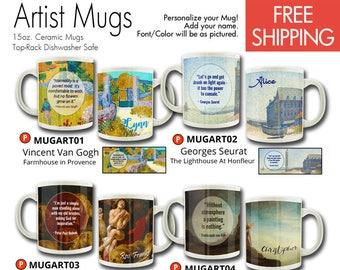 Artist Mug Personalized Mug Van Gogh Seurat Rubens Rembrandt Monet Degas 15 oz Coffee Mug