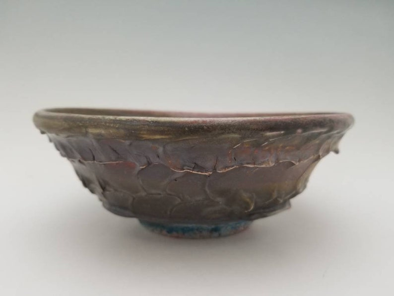 Cracked Slip Textured Wheel Thrown Soda Fired Bowl Crimson Dripping through Rustic Iron Crystals Over Cracked Texture,2.75tall 7.25wide