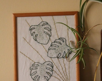 Monstera Framed Embroidered Picture