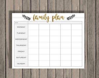 weekly calendar printable family plan printable schedule etsy
