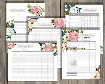 budget planner printable set personlized monthly budget etsy