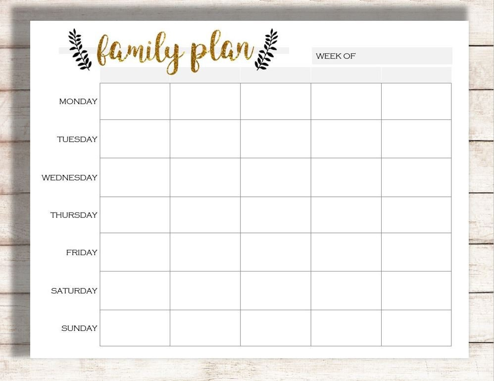 image regarding Printable Schedule called Weekly Calendar Printable, Spouse and children Program Printable, Program