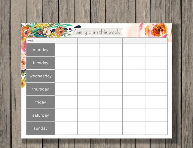 Weekly Calendar Printable Family Plan Printable Schedule | Etsy