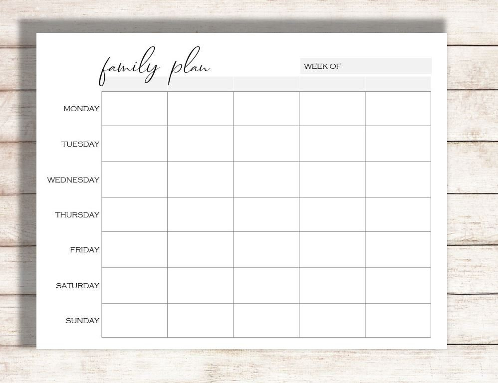 picture about Schedule Printable called Weekly Calendar Printable, Relatives Software Printable, Program