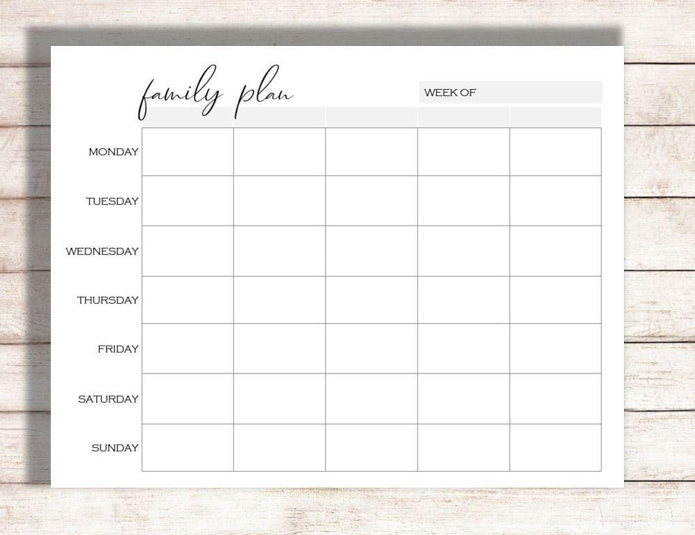 image relating to Weekly Schedule Printable referred to as Weekly Calendar Printable, Family members Program Printable, Routine
