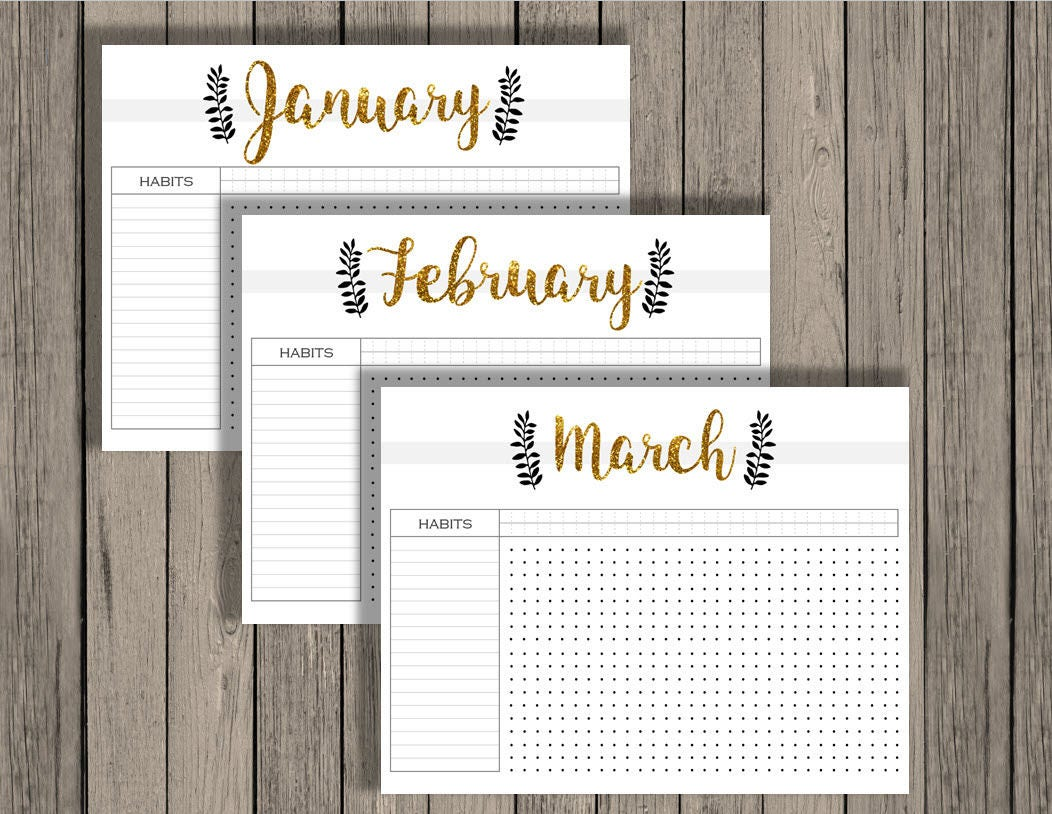 photo regarding Bullet Journal Calendar Printable titled Bullet magazine printable, routine tracker printable, every month