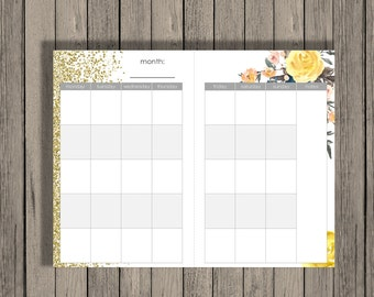 Monthly Calendar Printable, a5 size, monthly calendar across 2 half pages. Blank Month Calendar Printable. a5 month calendar