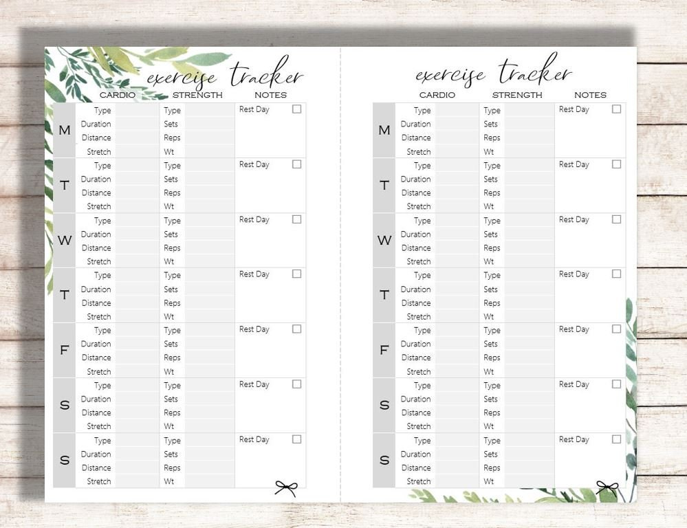 photograph regarding Printable Exercise Log titled Fitness Tracker Printable, Vitamins and minerals Tracker Printable