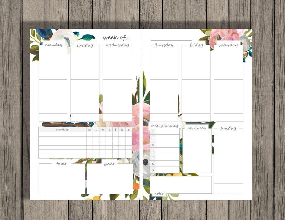 Weekly Planner Printable Weekly Calendar A5 Printable Etsy