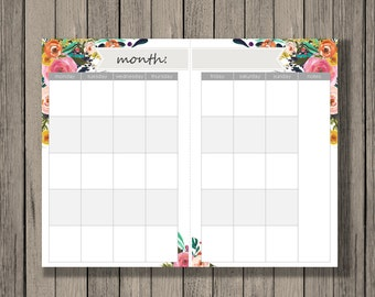 Monthly Calendar Printable, a5 size, monthly calendar across 2 half pages. Blank Month Calendar Printable. A5 month calendar.