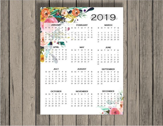 2019 Yearly Calendar 2019 Calendar Calendar Full Page Etsy