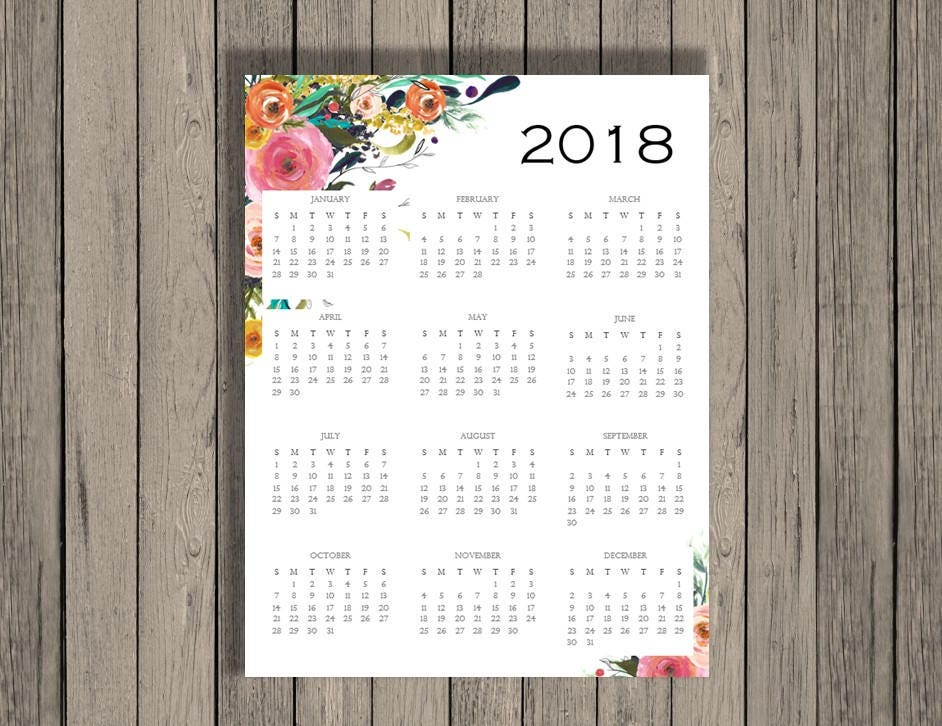 2018 yearly calendar 2018 calendar calendar full page printable calendar printable at a glance 2018 calendar yearly calendar