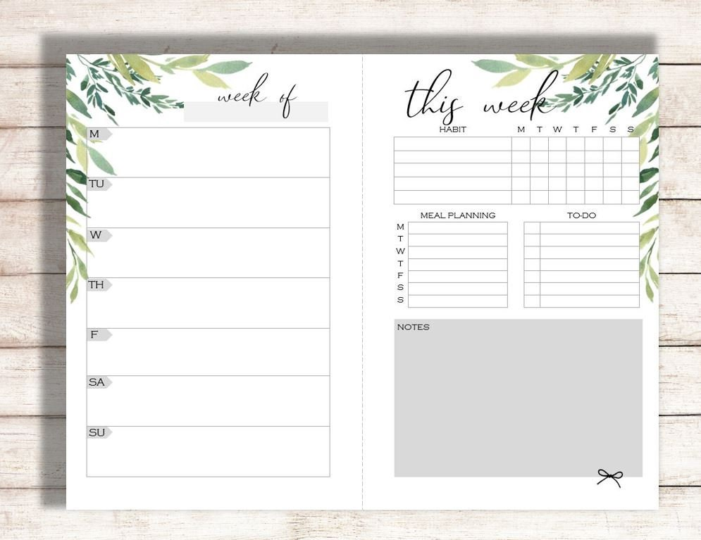 photograph relating to Family Planner Calendar referred to as Editable Weekly Planner Printable, Weekly Calendar, Household