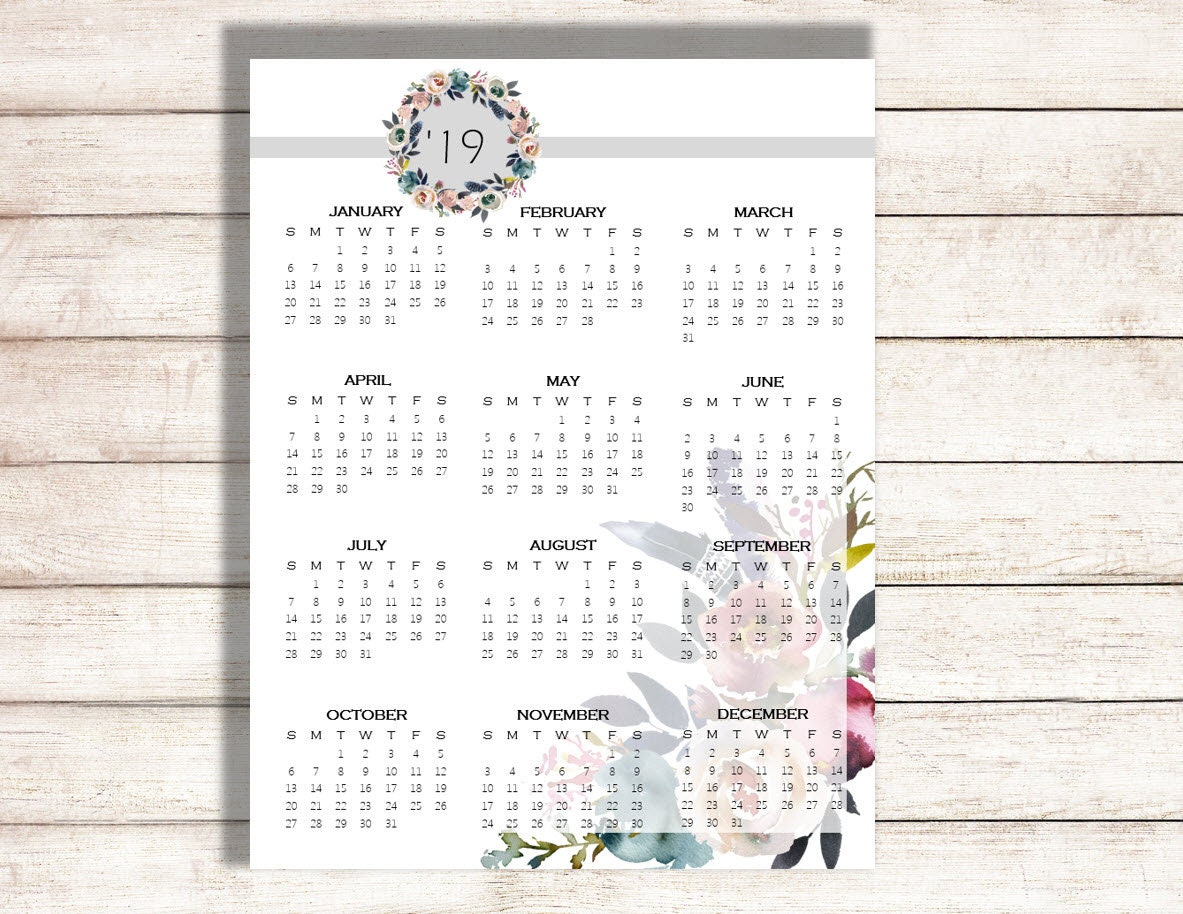2019 Yearly Calendar, 2020 Calendar, Calendar Full Page