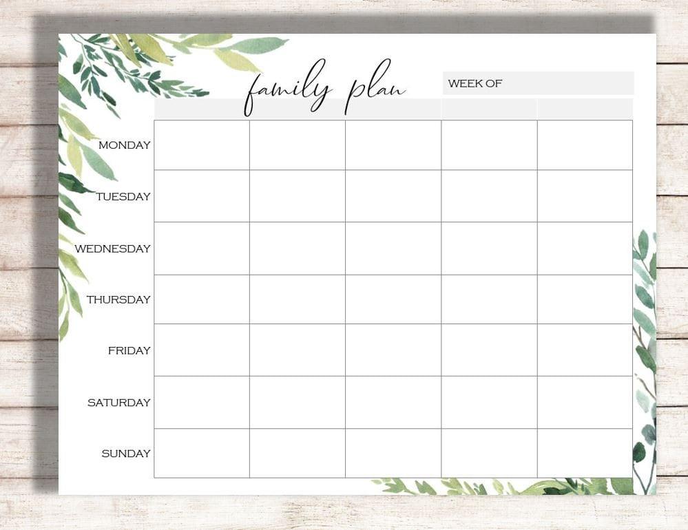 weekly calendar printable family plan printable schedule