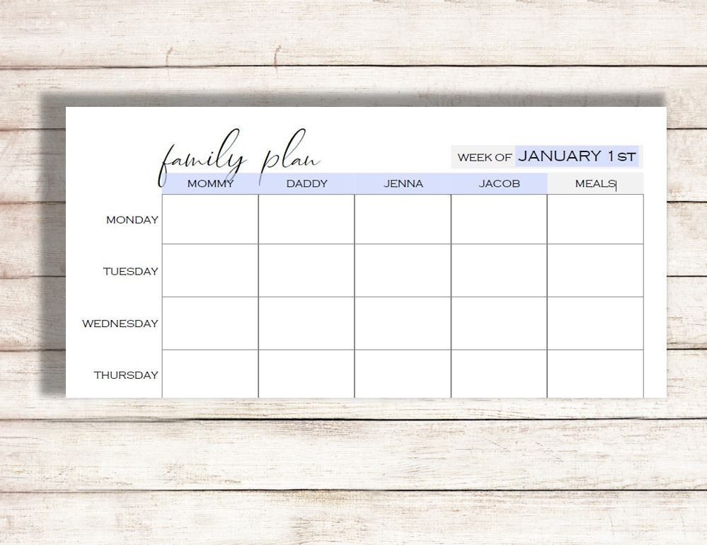 picture about Schedule Printable called Weekly Calendar Printable, Spouse and children System Printable, Routine