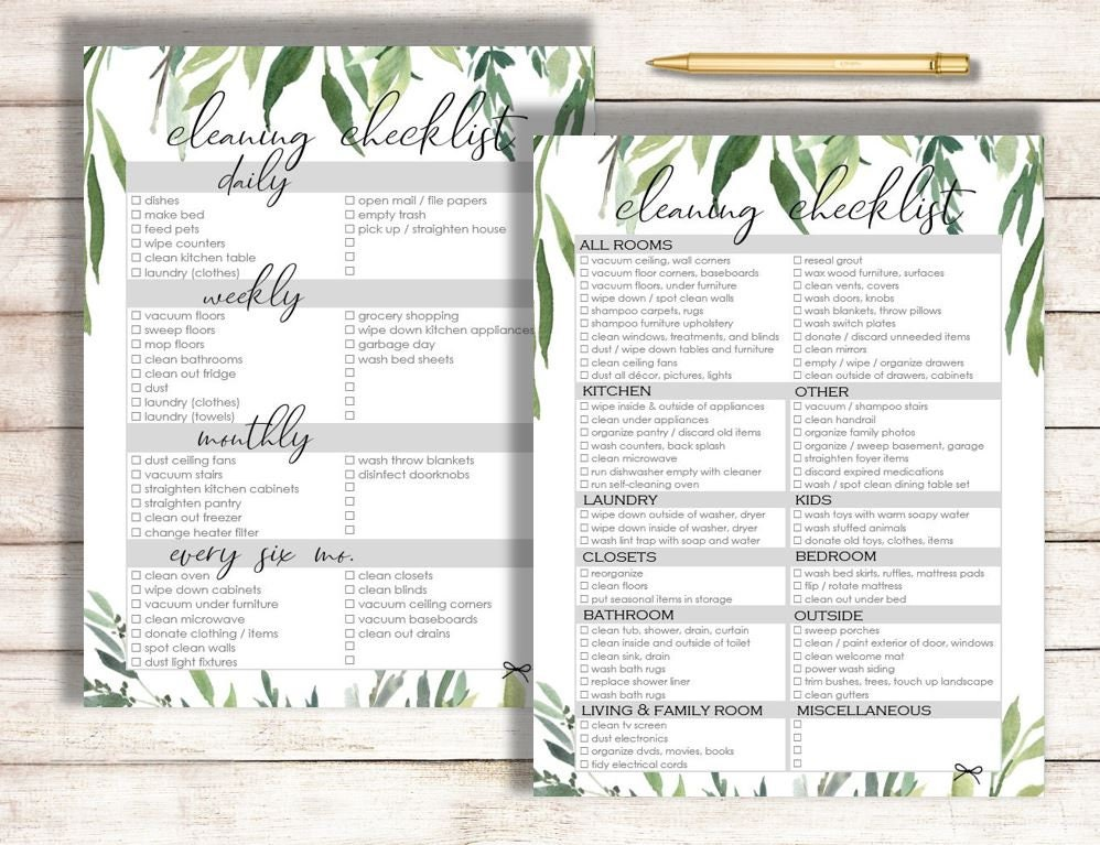 photograph relating to Printable House Cleaning Checklist identified as Cleansing List, Editable Cleansing List Printable