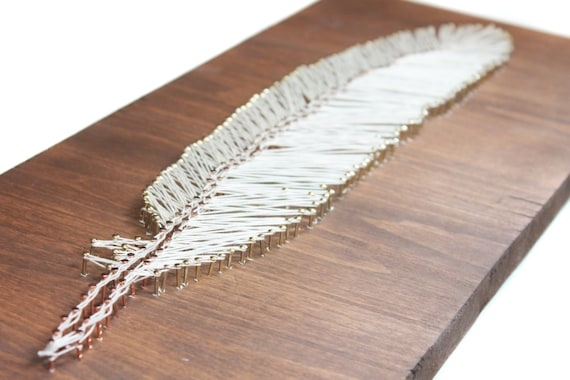 Diy Wood Sign Feather Wall Art Diy String Art Template Nail Etsy