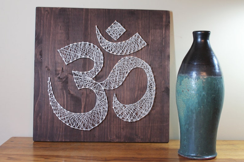 Om Wall Art Meditation Sign Pattern String Art Omkara Aumkara Diy String Art Pranava Art Project Do It Yourself Yoga Wall Art 16 X 16