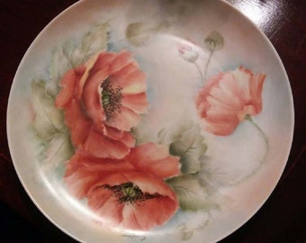 """Peach Poppies Hand Painted Porcelain Plate signed by """"Lois Fleming"""""""