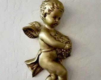 Cupid Angel Cherub Retro Wall Hanging - Chalkware