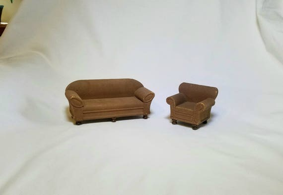 Cool Strombecker Dollhouse Miniature Living Room Set Sofa And Chair Early 1930S Set 1 12 Vintage Ncnpc Chair Design For Home Ncnpcorg
