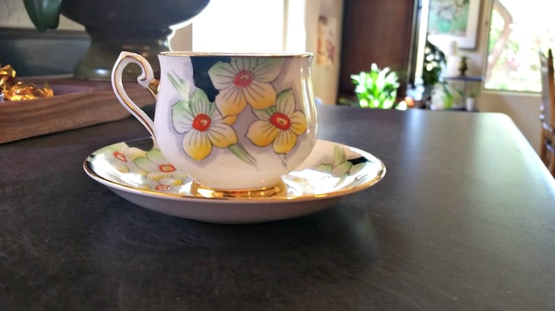 Punctual Hollywood Ware Orange Blossom Cup And Saucer Hand Decorated Vintage Pottery & China Pottery & Glass