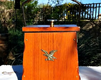 Ice Bucket Vintage Cedar with Lining and Eagle Emblem  Rustic