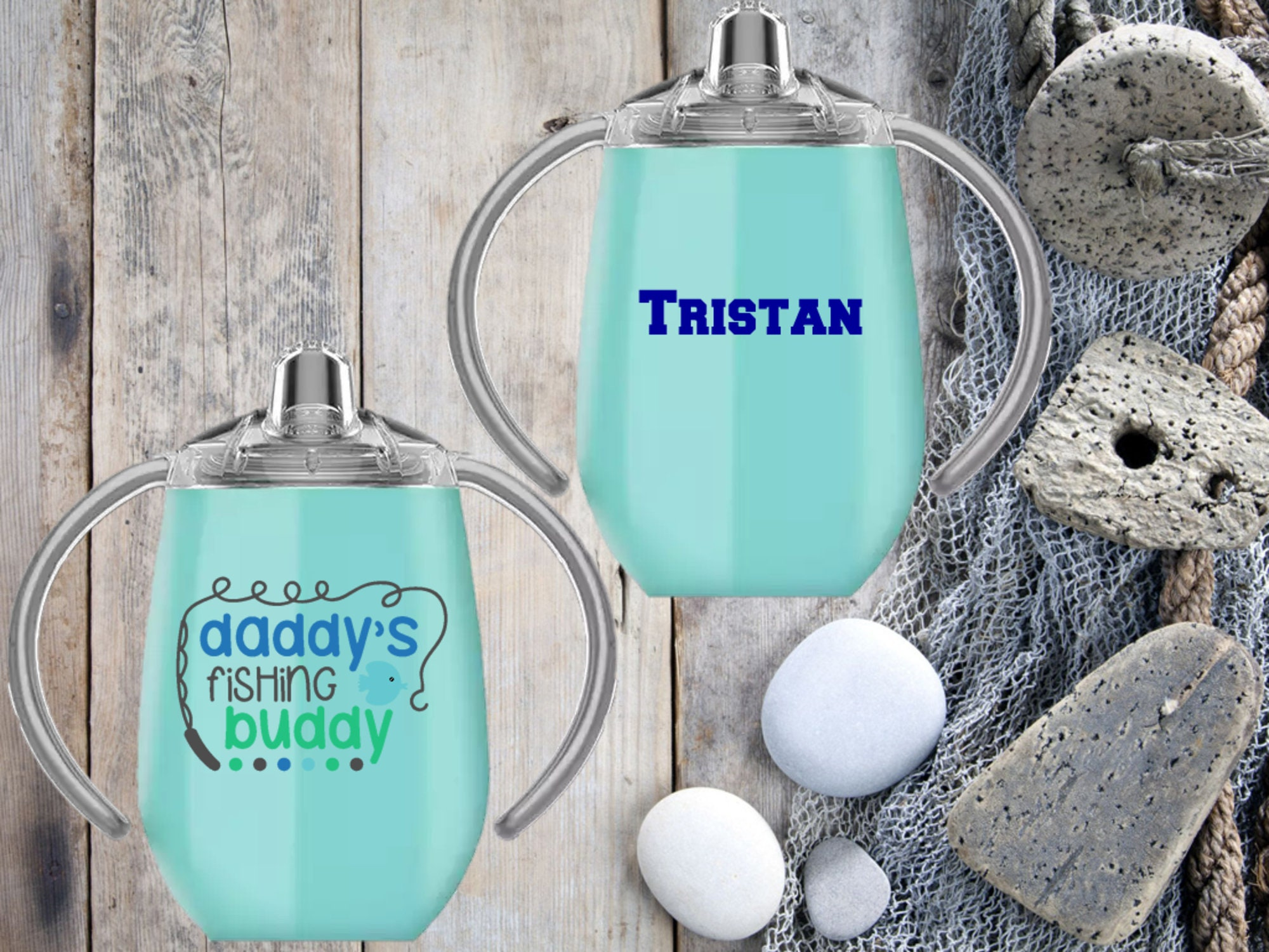 Personalized Custom HOGG Glitter Sippy Cup Tumbler, fishing
