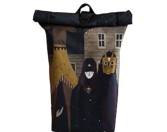 NIGHT*Urban Rolltop Backpack Laptop Backpack Water resistant