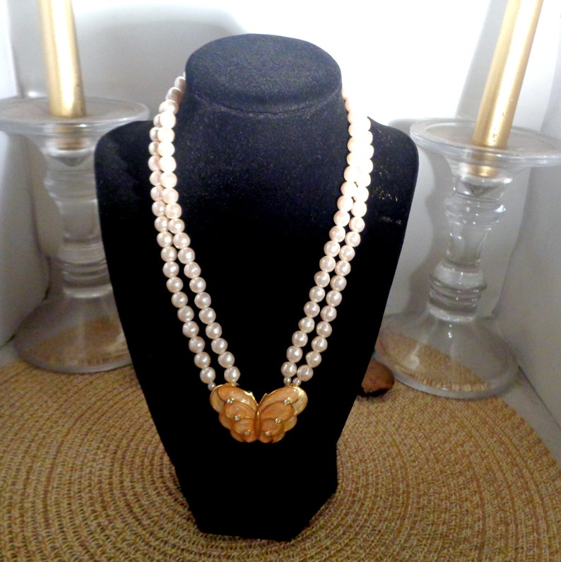 Kenneth Jay Lane for Avon Book Piece Vintage Butterfly Set with Creme Colored Pearl Necklace and Matching Butterfly Wing Earrings.