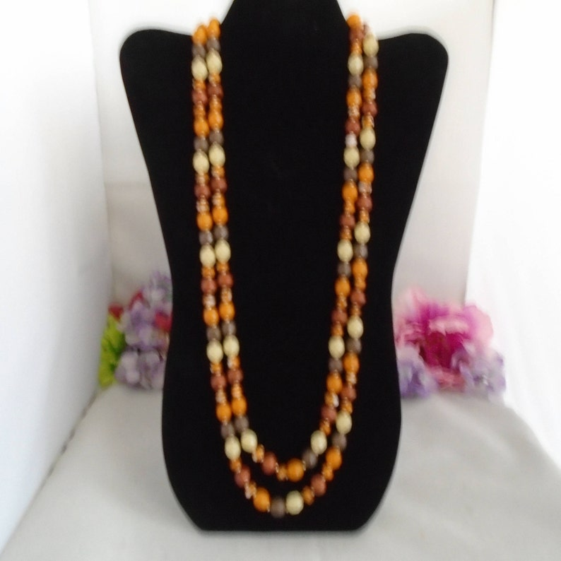 Some chipped but others are fine. Perfect for Crafts The Necklace is 60  Long Reduced  JOAN RIVERS 60 Necklace Autumn Colored Beads