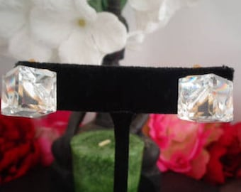 "Vintage  Earrings that were purchased in Swarovski/SAL Lot -  1/2"" Crystal Clip On Cube Shaped and Set in Goldtone. Not Signed."