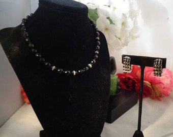 "Vintage Black Crystal Beaded 16.5 Necklace w/4 Rhinestone Stationsw/Rhinestone Clip On Earrings that Slide on your ears and are 1"" in size"