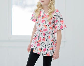 Tessa's Dolman High Low Top. PDF sewing pattern for toddler girl sizes 2t - 12.