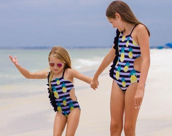 Lorelei's Flutter Cutout Swimsuit. PDF sewing patterns for girls sizes 2t-12