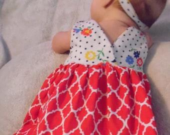 KNIT version Baby Ayda's V back Peplum & Dress. PDF sewing pattern for baby girl sizes NB - 24m.