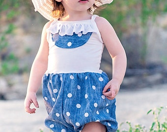 Baby Missy's knit/ woven ruffle pocket dress & romper. PDF sewing pattern for baby sizes NB-24 months