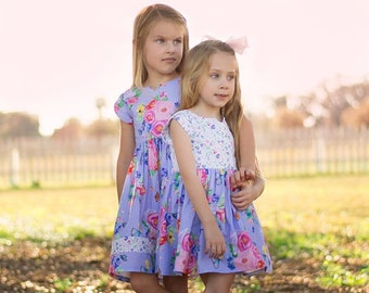 Mila's Tulip Sleeve Top and Dress. Downloadable PDF Sewing Pattern for Kids. Girls and Toddler Sizes 2T-12.